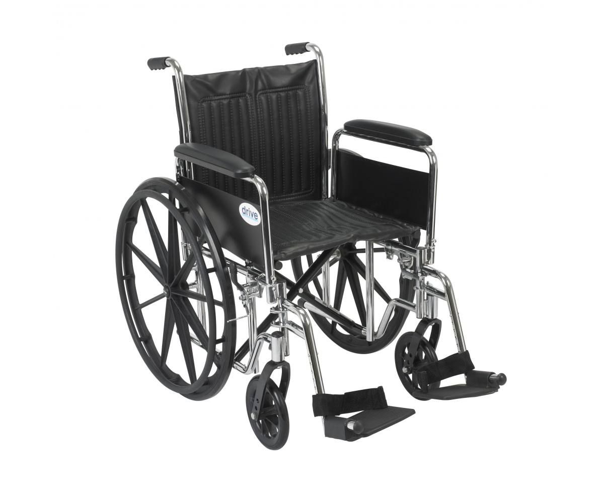 Chrome Sport Wheelchair with Detachable Full Arms and Swing Away Footrest