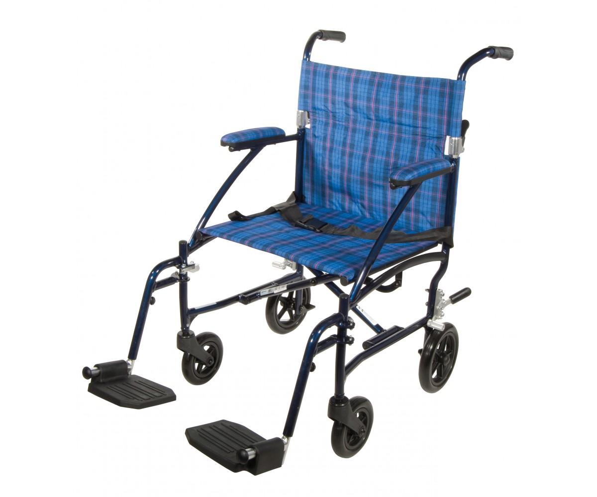 Fly Lite Ultra Lightweight Blue Transport Wheelchair