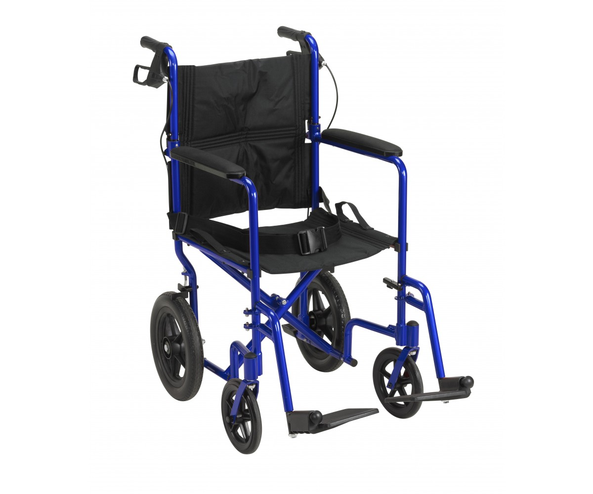 Lightweight Expedition Blue Transport Wheelchair with Hand Brakes