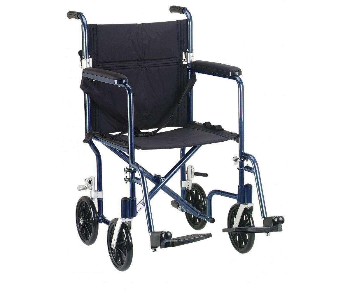 """17""""Flyweight Lightweight Blue Transport Wheelchair"""