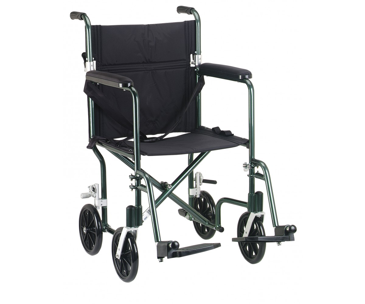 "17"" Flyweight Lightweight Green Transport Wheelchair"