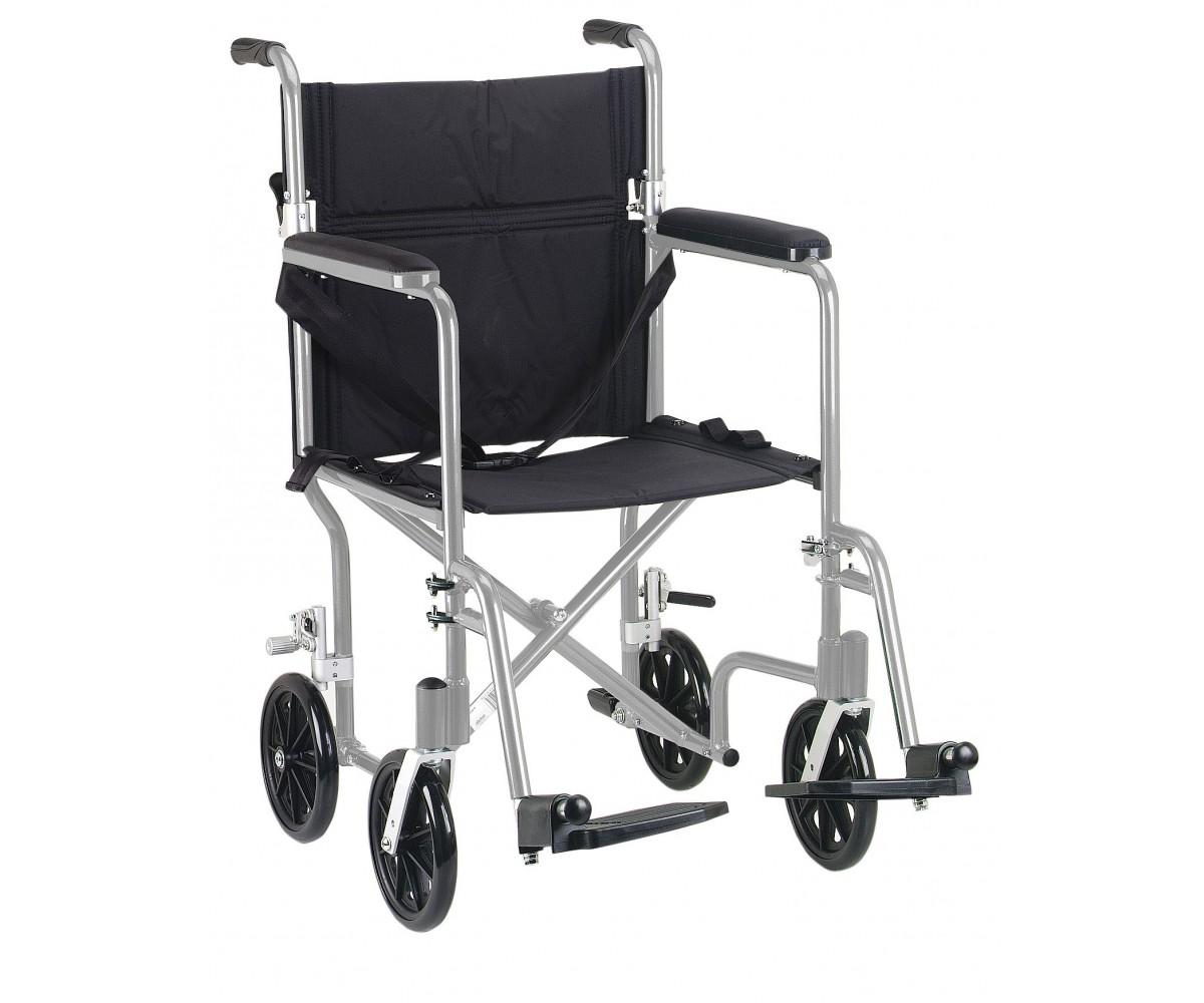 """17"""" Flyweight Lightweight Silver Transport Wheelchair"""