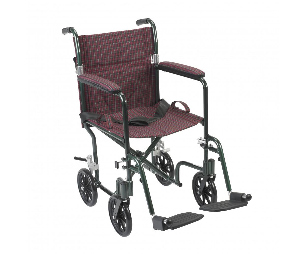 "19"" Flyweight Lightweight Burgundy Transport Wheelchair"