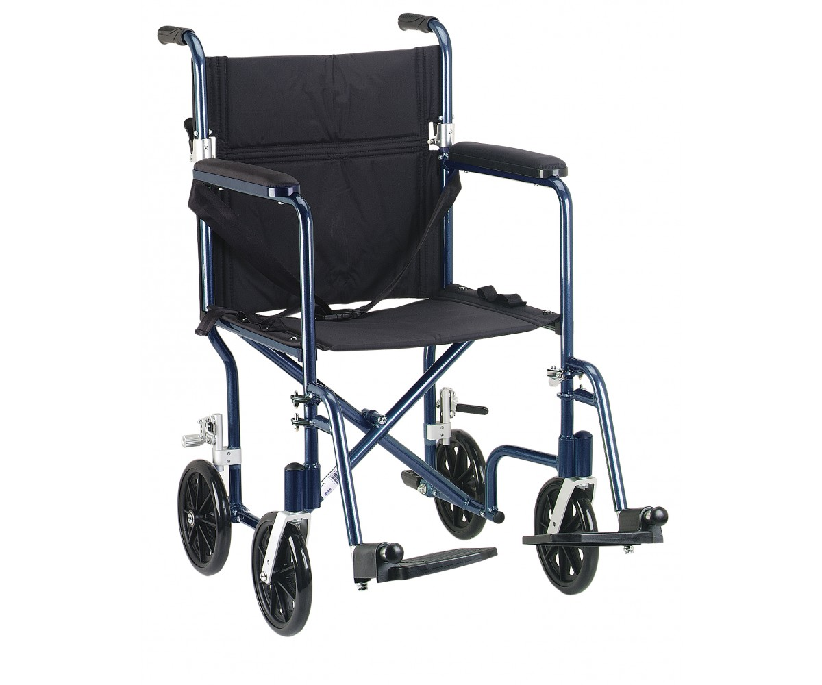 "19"" Flyweight Lightweight Blue Transport Wheelchair"