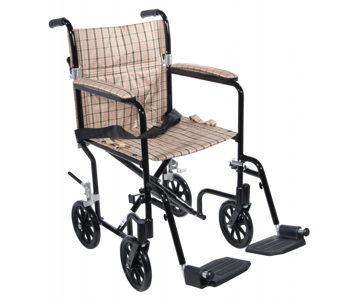 "19"" Flyweight Lightweight Tan Plaid Transport Wheelchair"