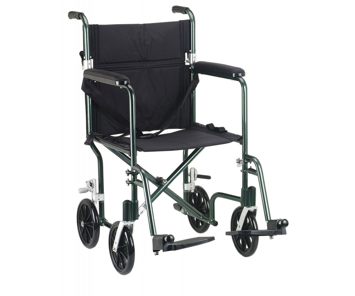 """19"""" Flyweight Lightweight Green Transport Wheelchair"""