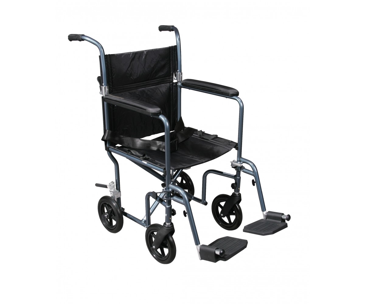 Flyweight Lightweight Blue Transport Wheelchair with Removable Wheels
