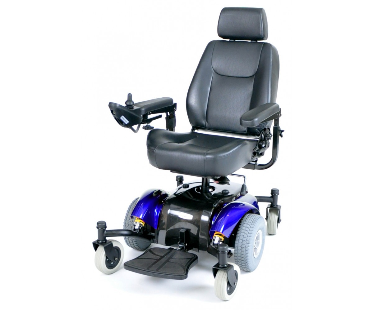 Blue Intrepid Mid-Wheel Power Wheelchair with Captain Seat