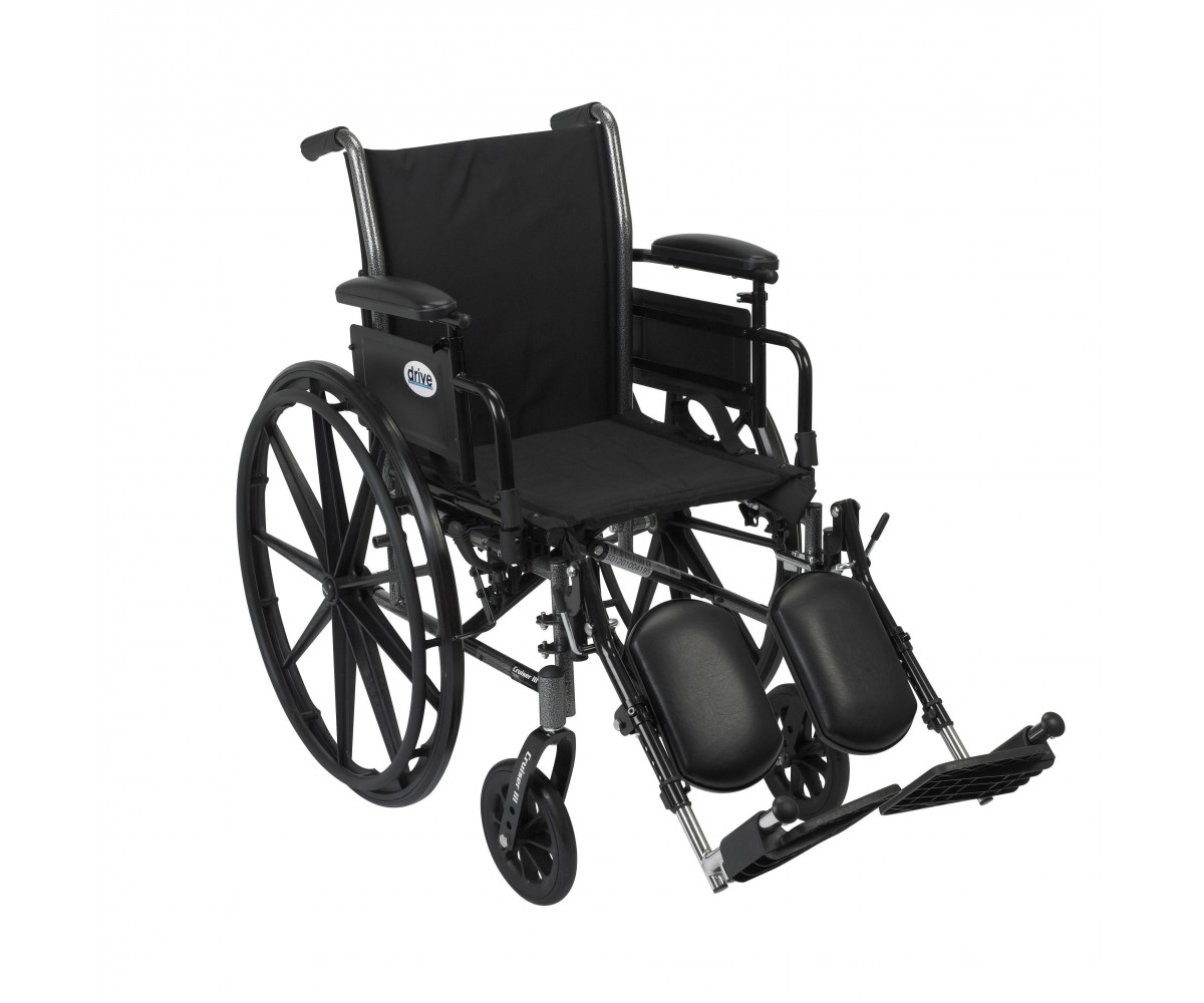 Cruiser III Light Weight Wheelchair with Flip Back Removable Adjustable Desk Arms and Elevating Leg Rest