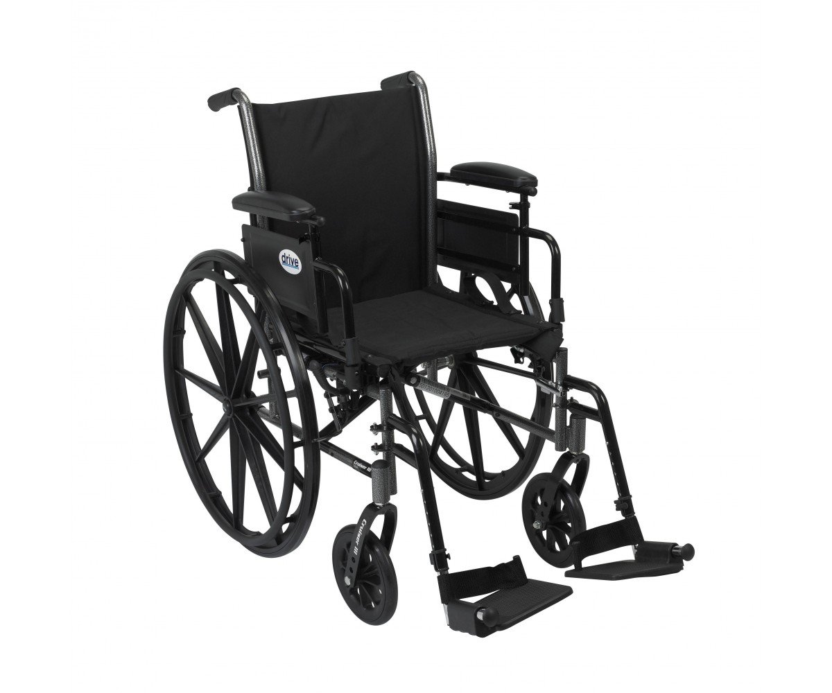 Cruiser III Light Weight Wheelchair with Flip Back Removable Adjustable Desk Arms and Swing Away Footrest
