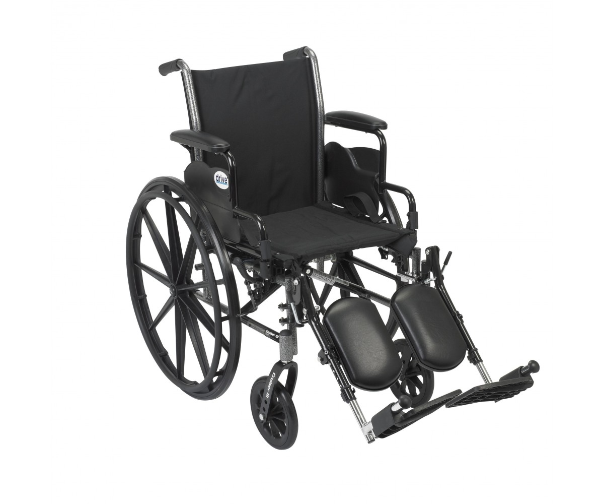 Cruiser III Light Weight Wheelchair with Flip Back Removable Desk Arms and Elevating Leg Rest