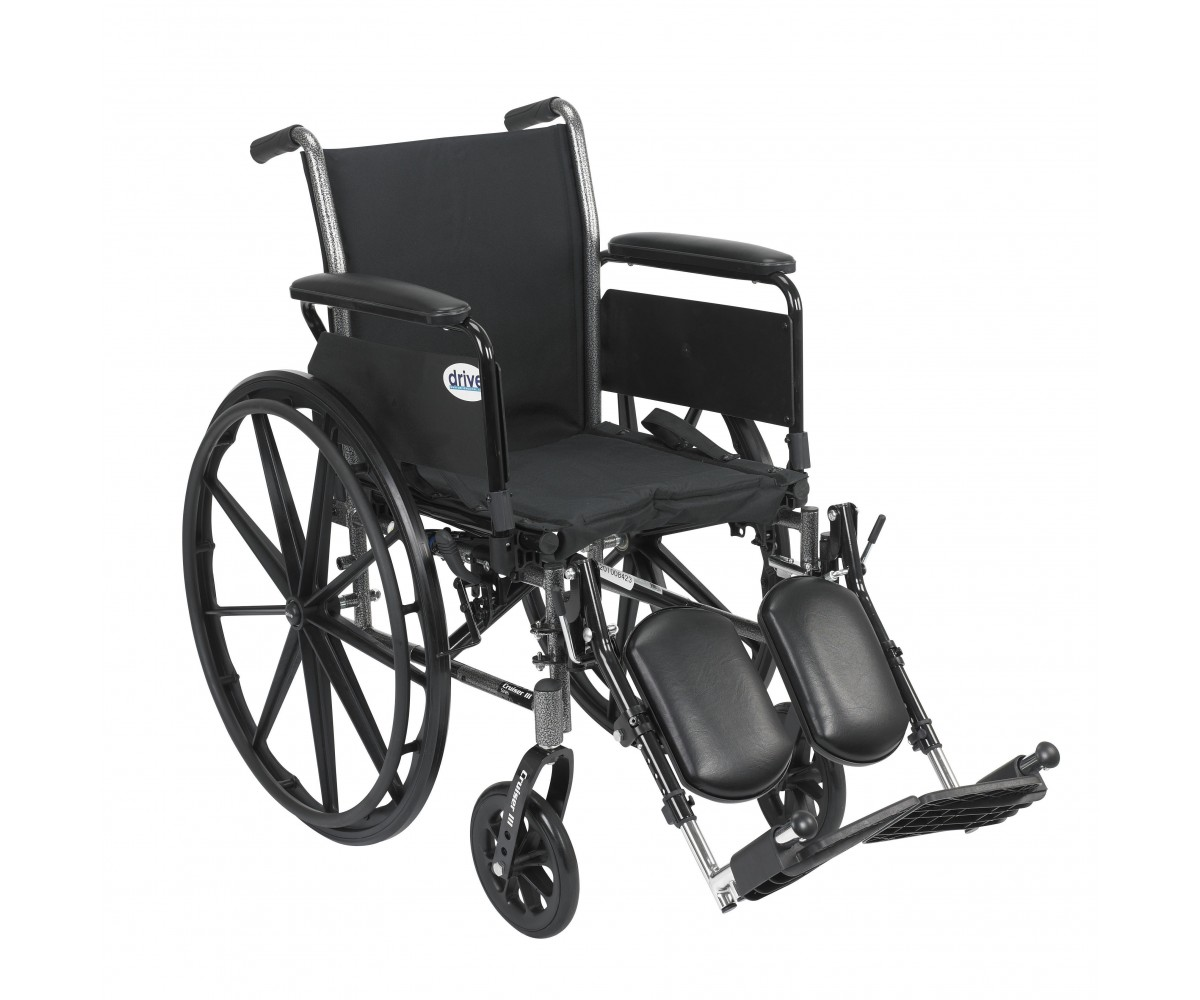 Cruiser III Light Weight Wheelchair with Flip Back Removable Full Arms and Elevating Leg Rest