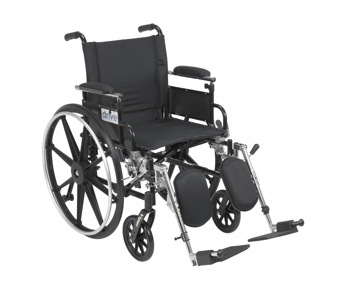 Viper Wheelchair with Flip Back Removable Adjustable Desk Arms and Elevating Leg Rest