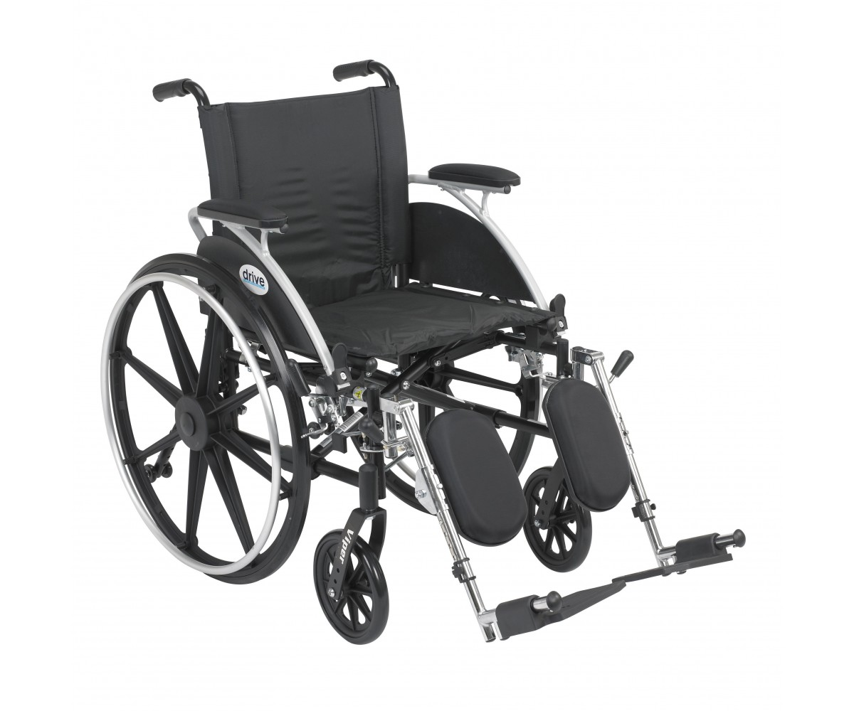 Viper Wheelchair with Flip Back Removable Desk Arms and Elevating Leg Rest