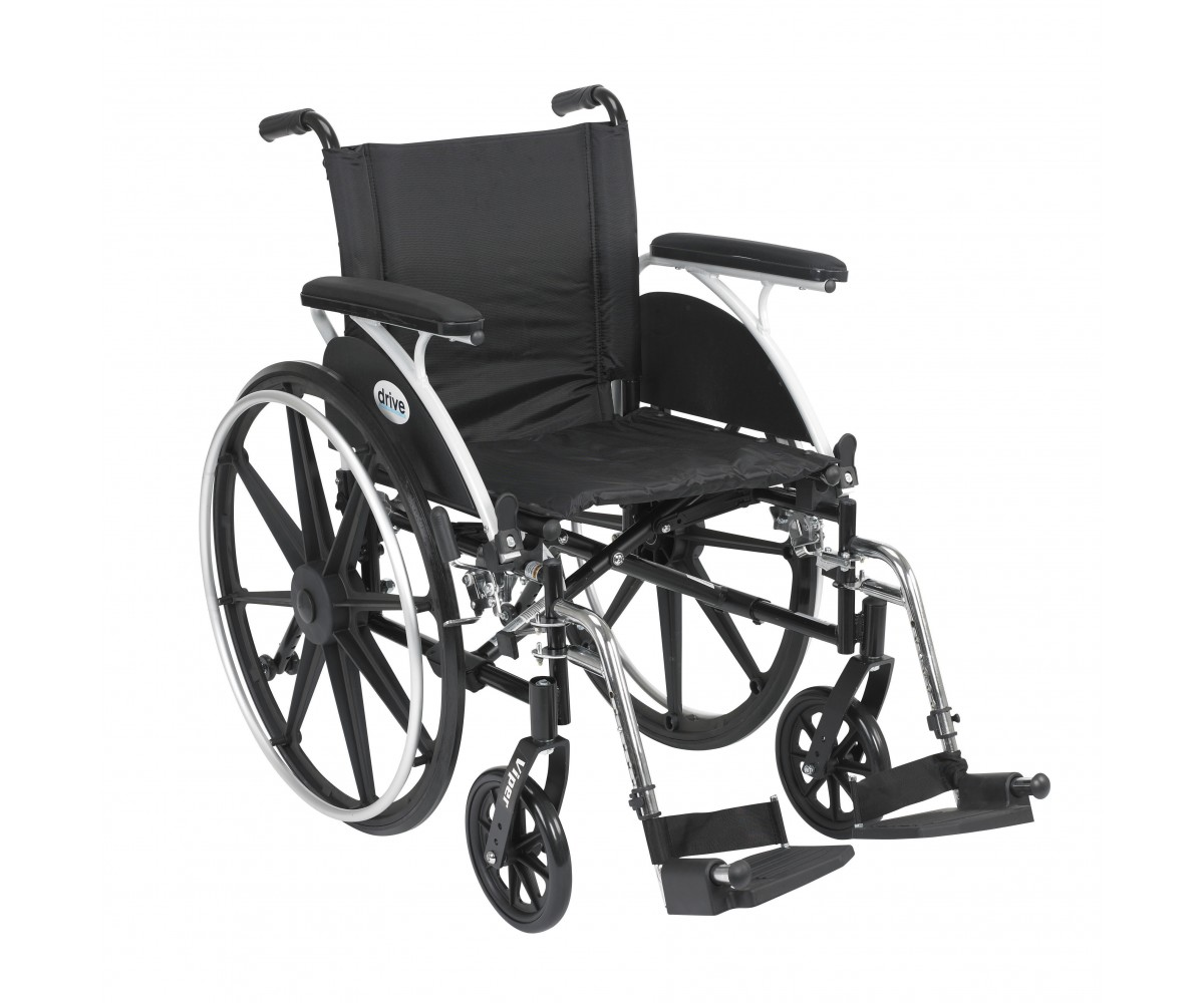 Viper Wheelchair with Flip Back Removable Full Arms and Swing Away Footrest