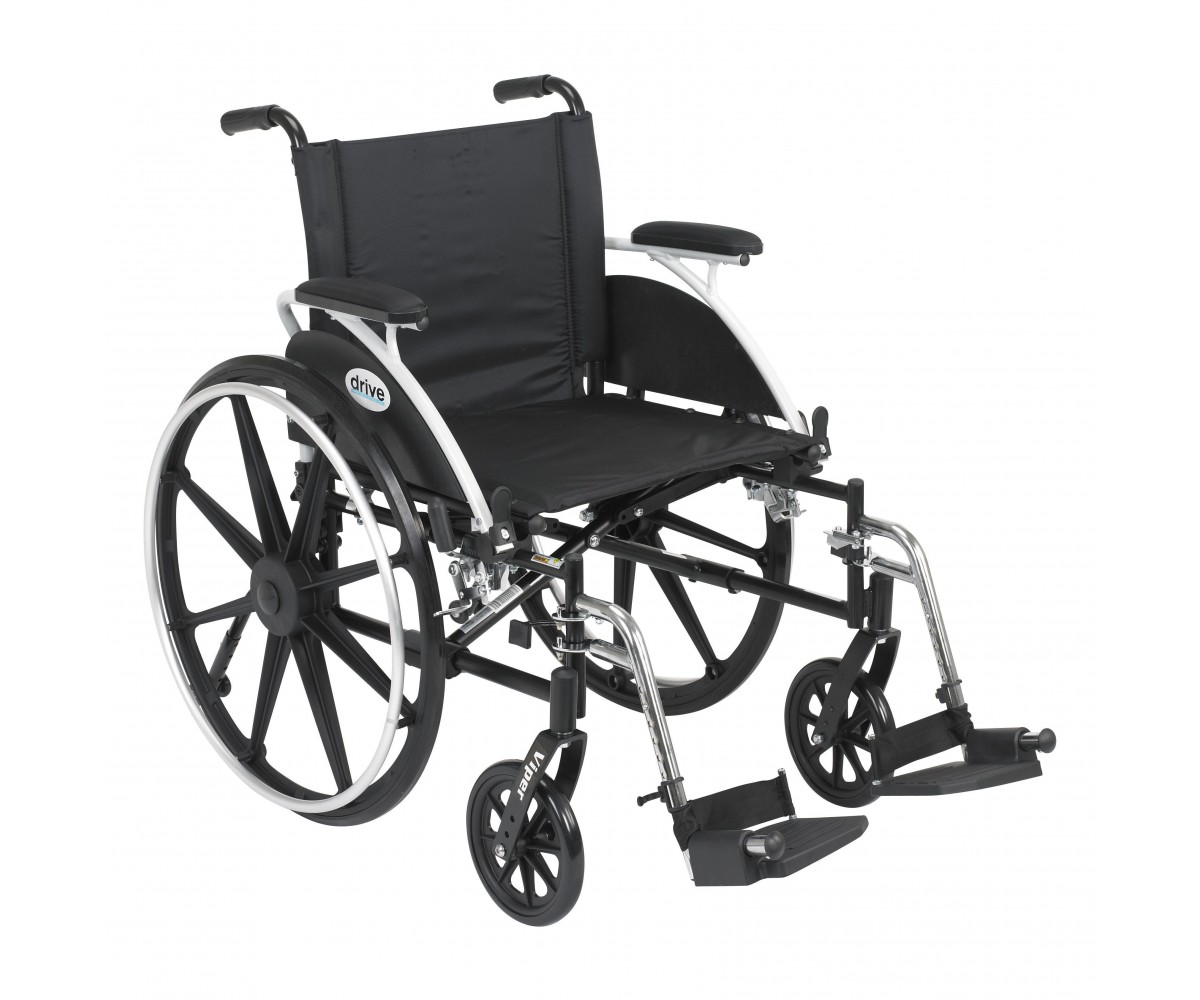 Viper Wheelchair with Flip Back Removable Desk Arms and Swing Away Footrest