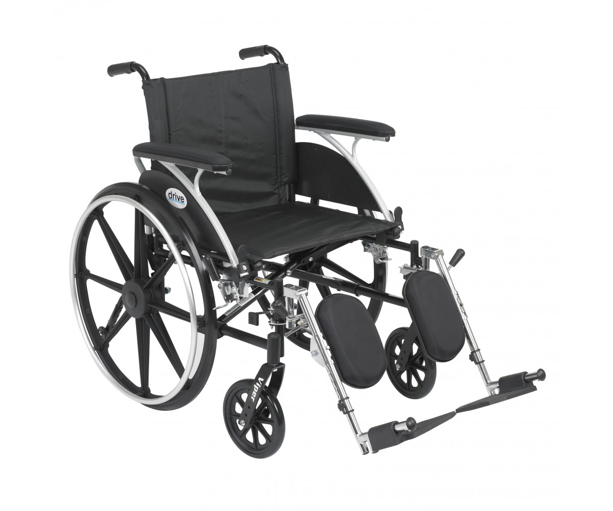 Viper Wheelchair with Flip Back Removable Full Arms and Elevating Leg Rest