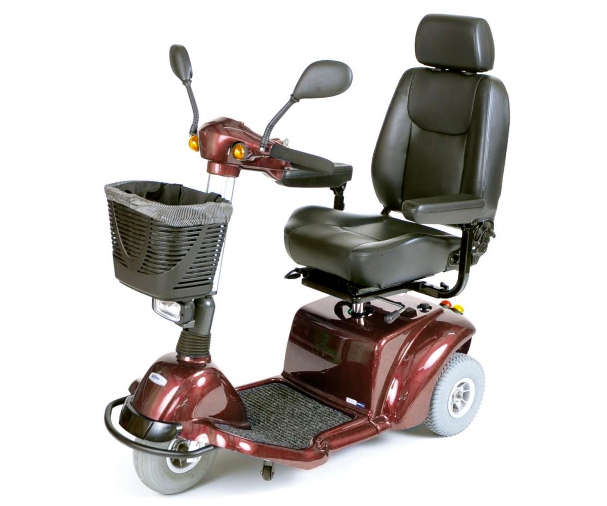 Burgundy Pilot 3-Wheel Power Scooter