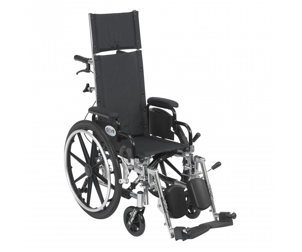 Viper Plus Light Weight Reclining Wheelchair with Elevating Leg rest and Flip Back Detachable Desk Arms