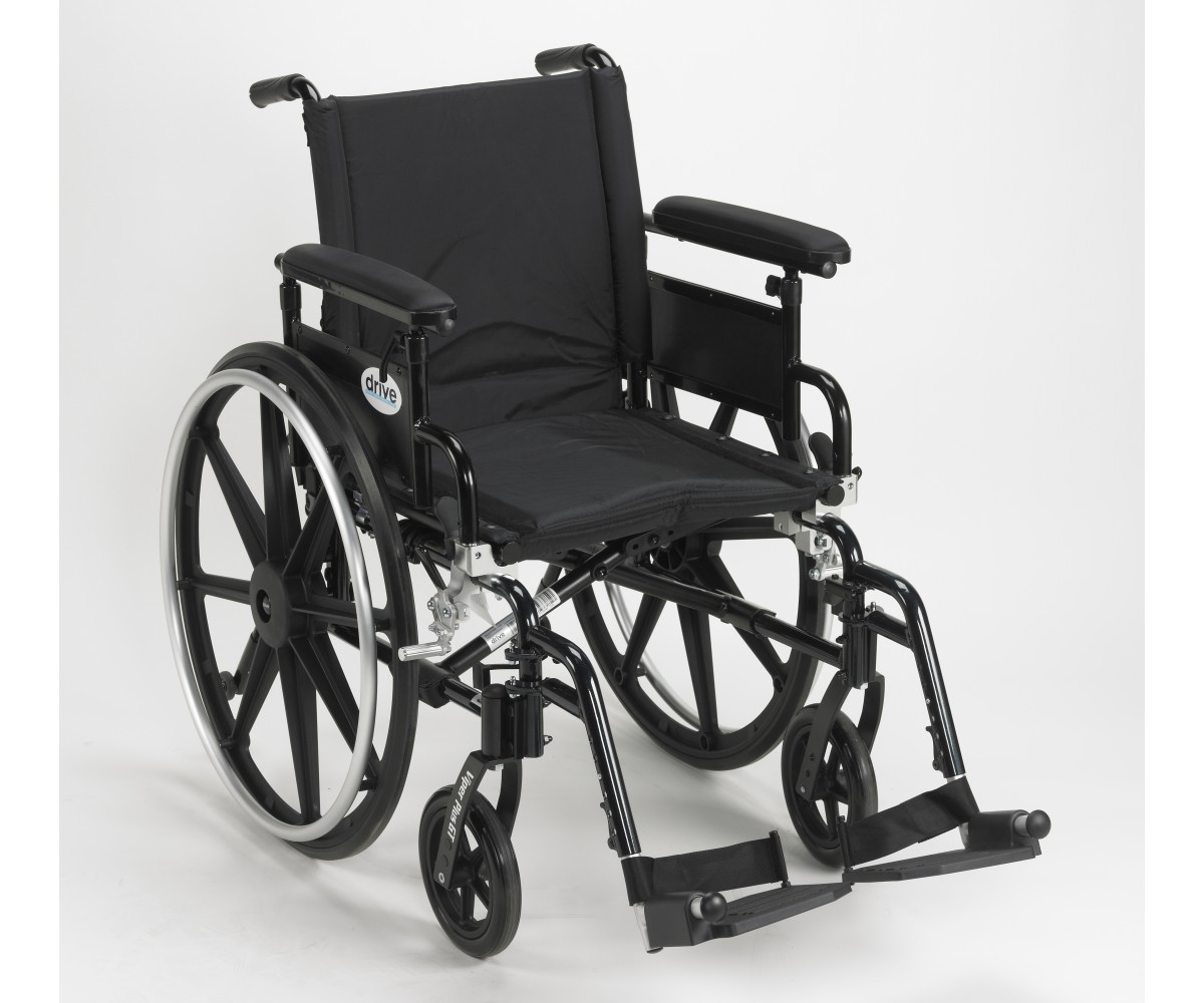 Viper Plus GT Wheelchair with Flip Back Removable Adjustable Full Arm and Swing Away Footrest