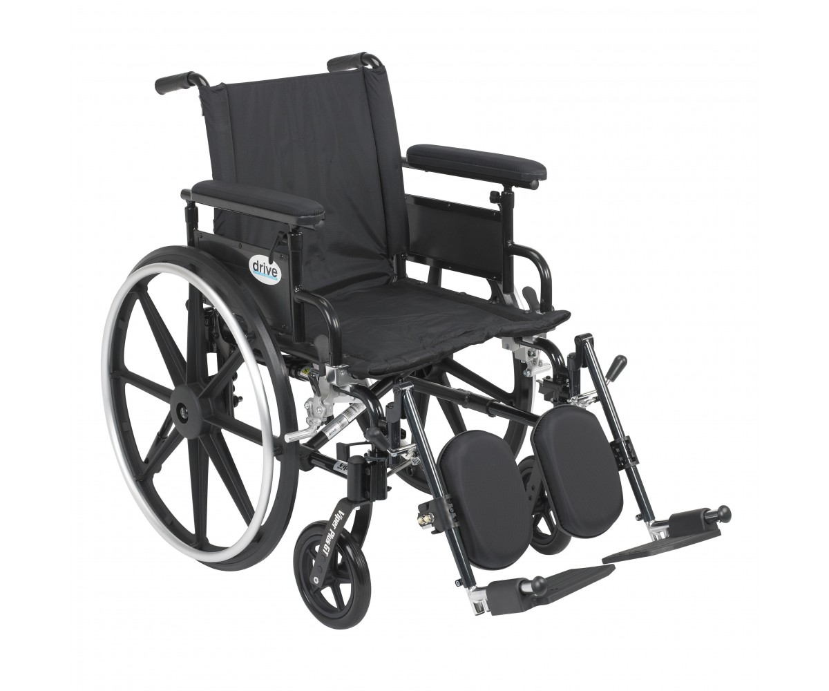 Viper Plus GT Wheelchair with Flip Back Removable Adjustable Full Arm and Elevating Leg Rest
