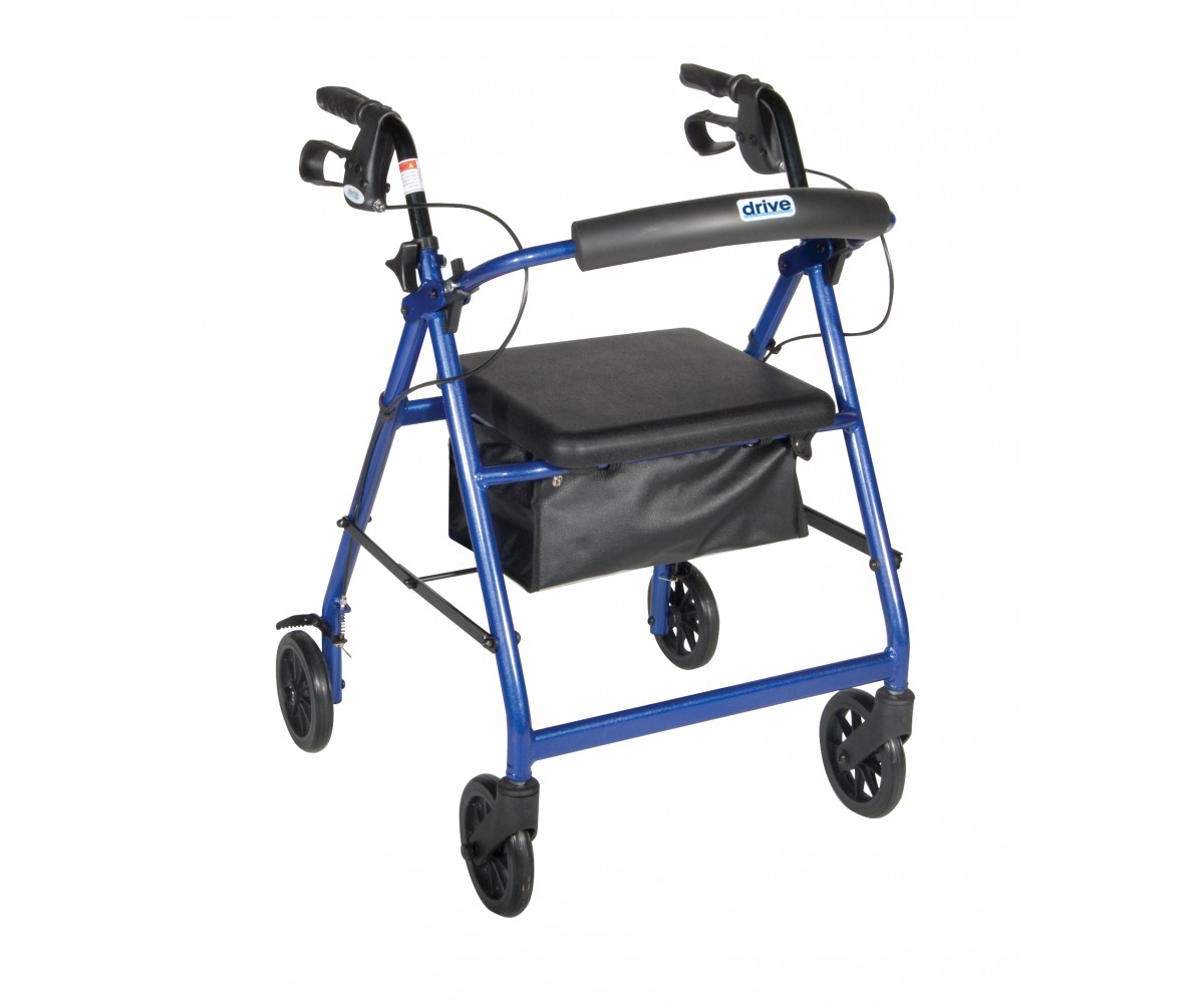Blue Rollator Walker with Fold Up and Removable Back Support and Padded Seat