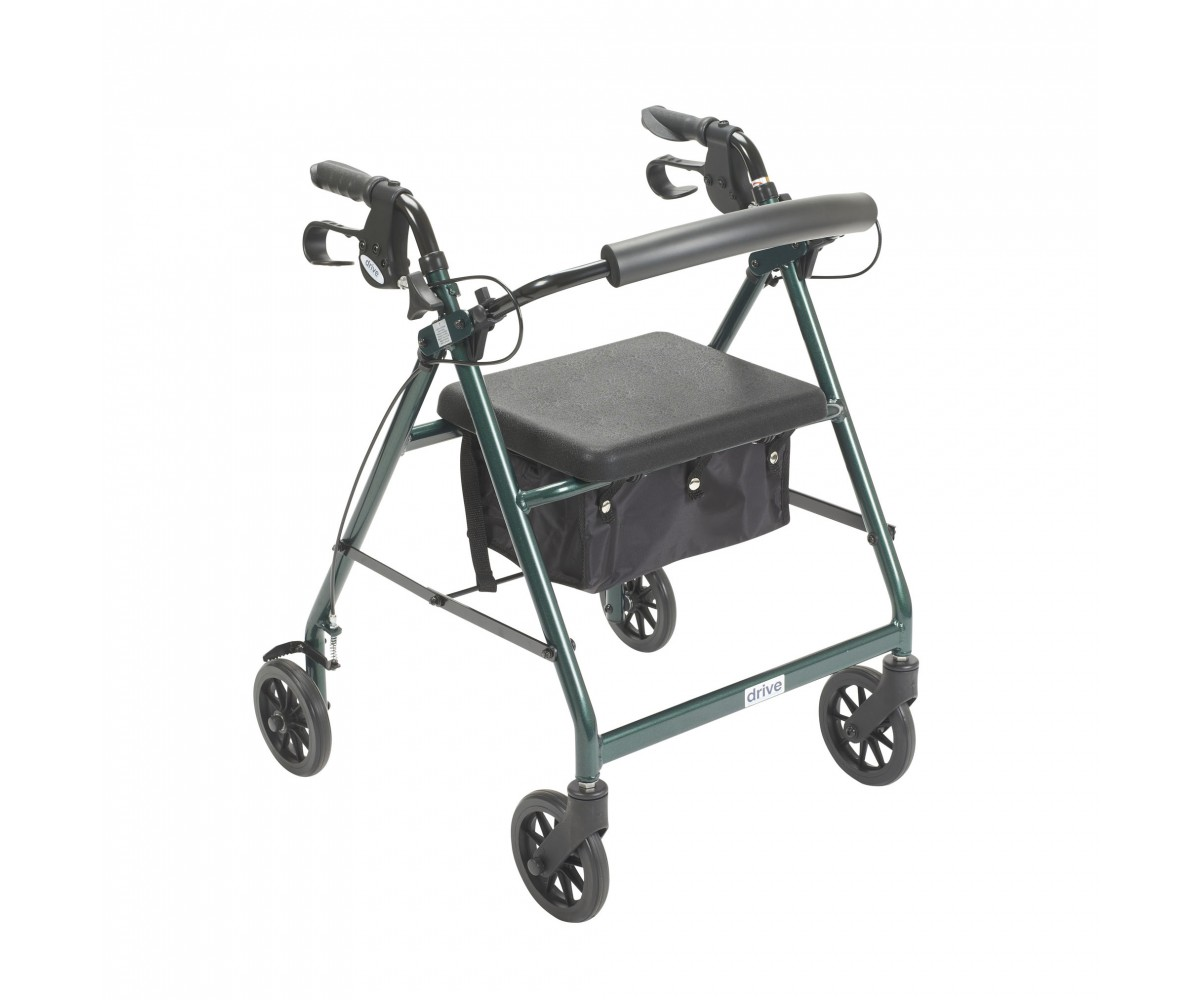 Green Rollator Walker with Fold Up and Removable Back Support and Padded Seat