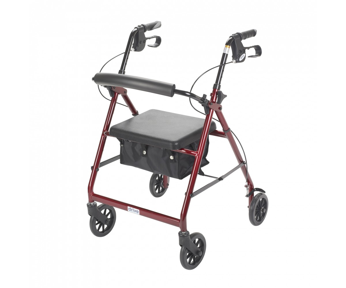 Red Rollator Walker with Fold Up and Removable Back Support and Padded Seat