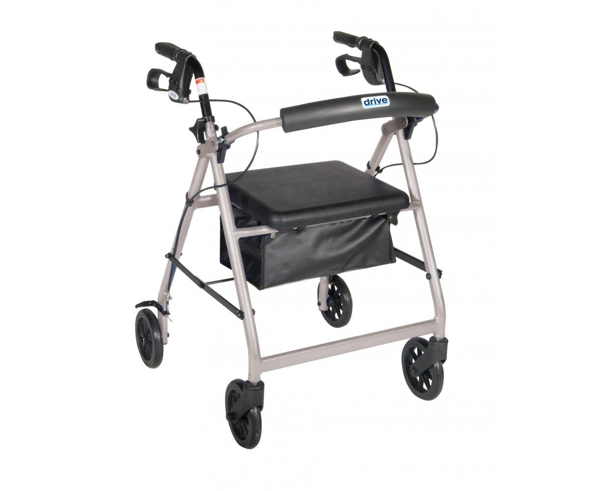 Silver Rollator Walker with Fold Up and Removable Back Support and Padded Seat