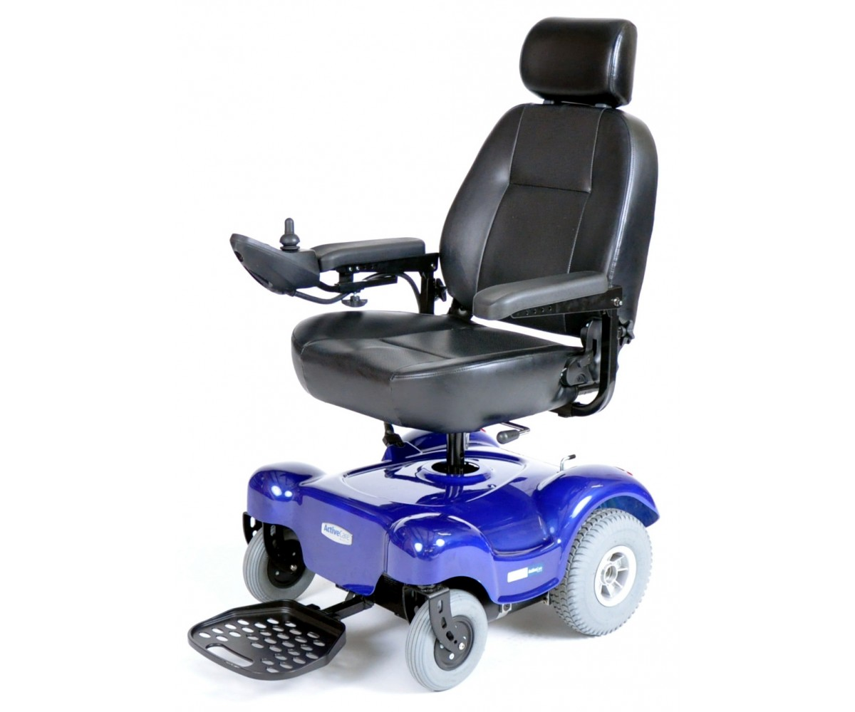Blue Renegade Power Wheelchair with Captain Seat