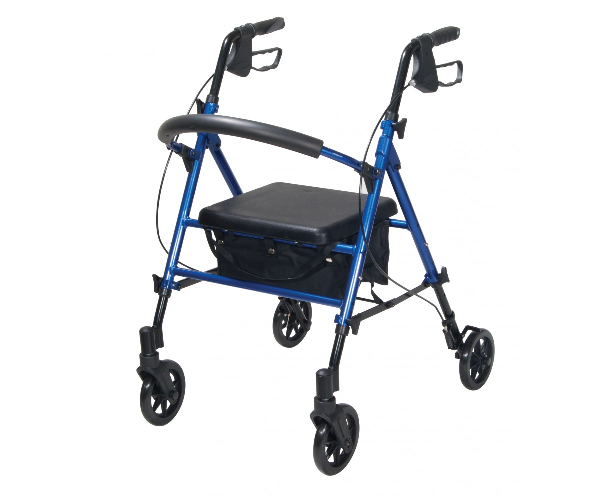 "Adjustable Height Blue Rollator with 6"" Wheels"