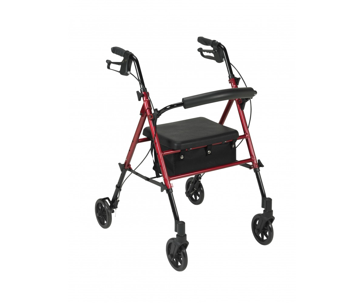 "Adjustable Height Red Rollator with 6"" Wheels"