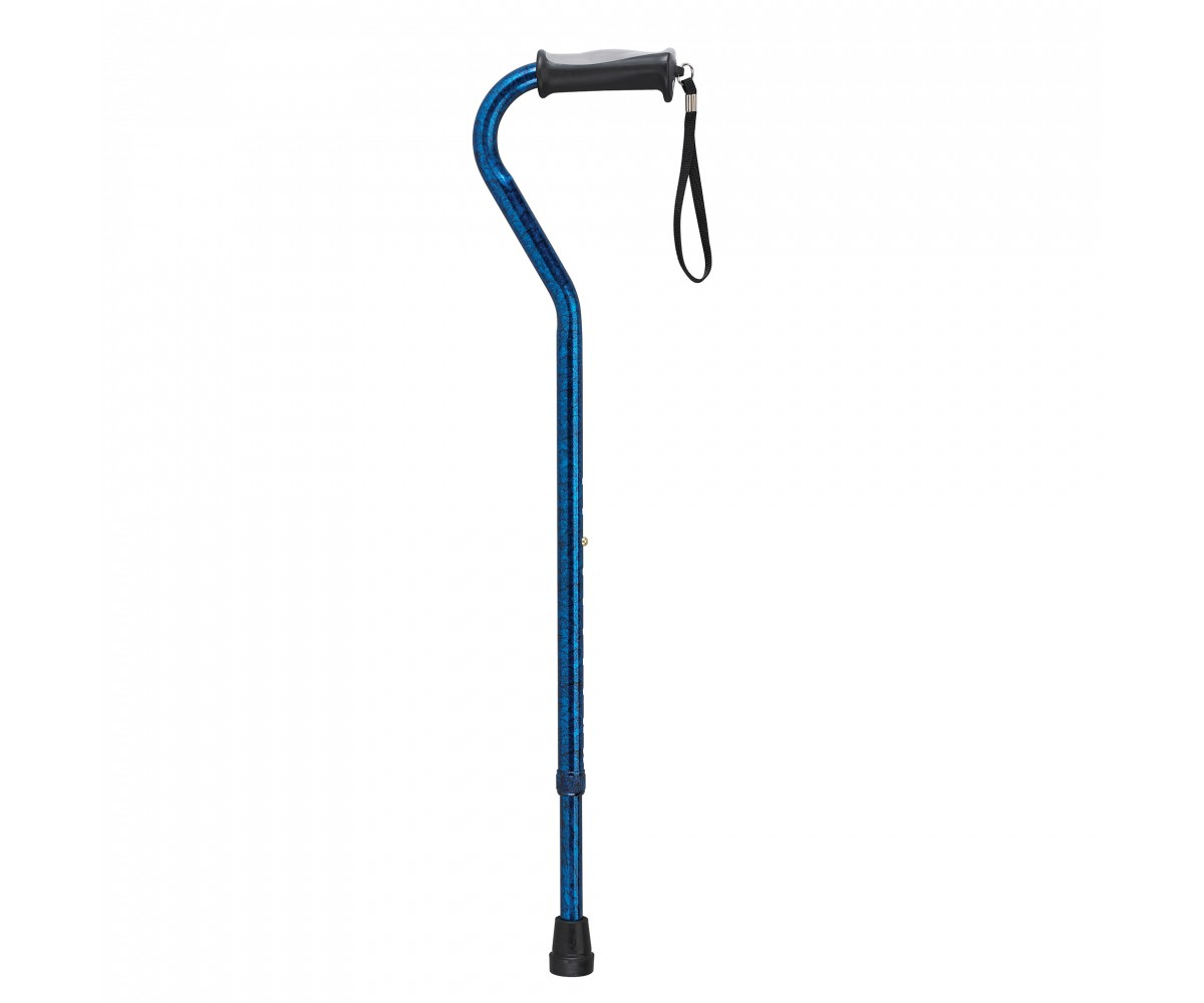 Adjustable Height Offset Handle Blue Crackle Cane with Gel Hand Grip