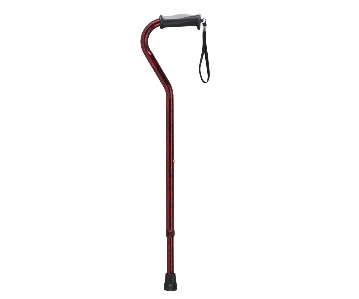 Adjustable Height Offset Handle Red Crackle Cane with Gel Hand Grip
