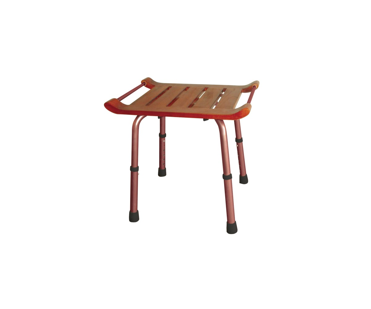 Adjustable Height Rectangular Teak Bath Bench Stool