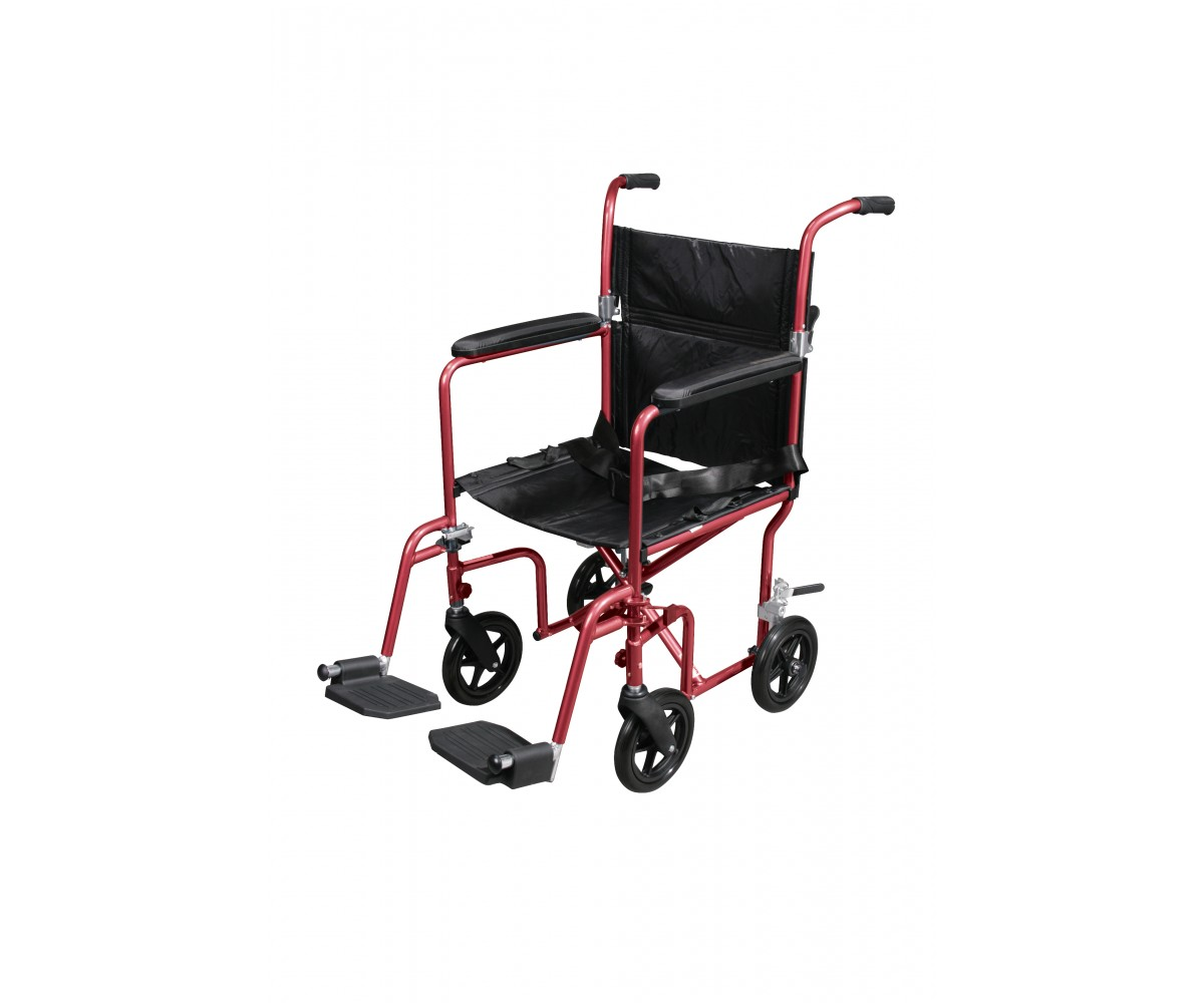 Flyweight Lightweight Red Transport Wheelchair with Removable Wheels