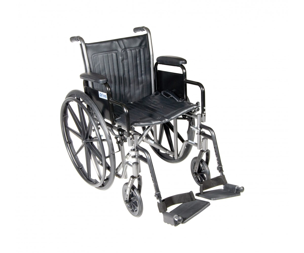 Silver Sport 2 Wheelchair with Detachable Desk Arms and Swing Away Footrest