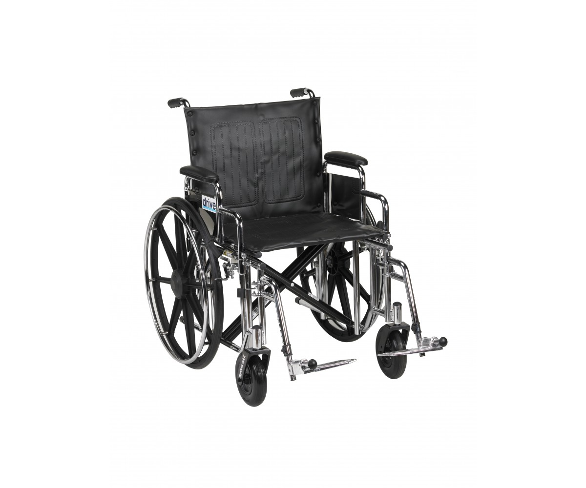 Sentra Extra Heavy Duty Wheelchair with Detachable Desk Arms and Swing Away Footrest