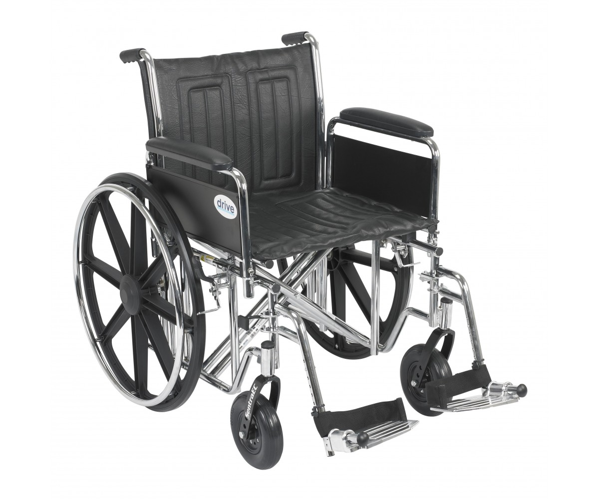 Sentra EC Heavy Duty Wheelchair with Detachable Full Arms and Swing Away Footrest