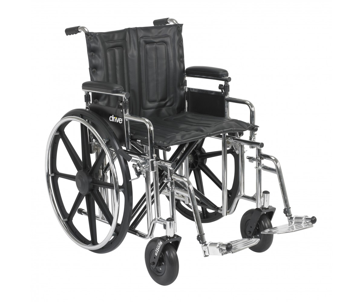 Sentra Extra Heavy Duty Wheelchair with Detachable Adjustable Desk Arms and Swing Away Footrest