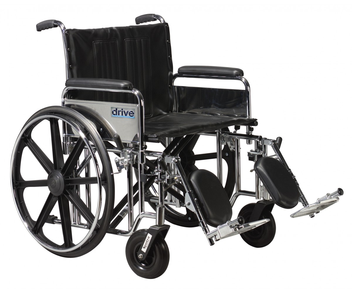 Sentra Extra Heavy Duty Wheelchair with Detachable Adjustable Full Arms and Elevating Leg Rest