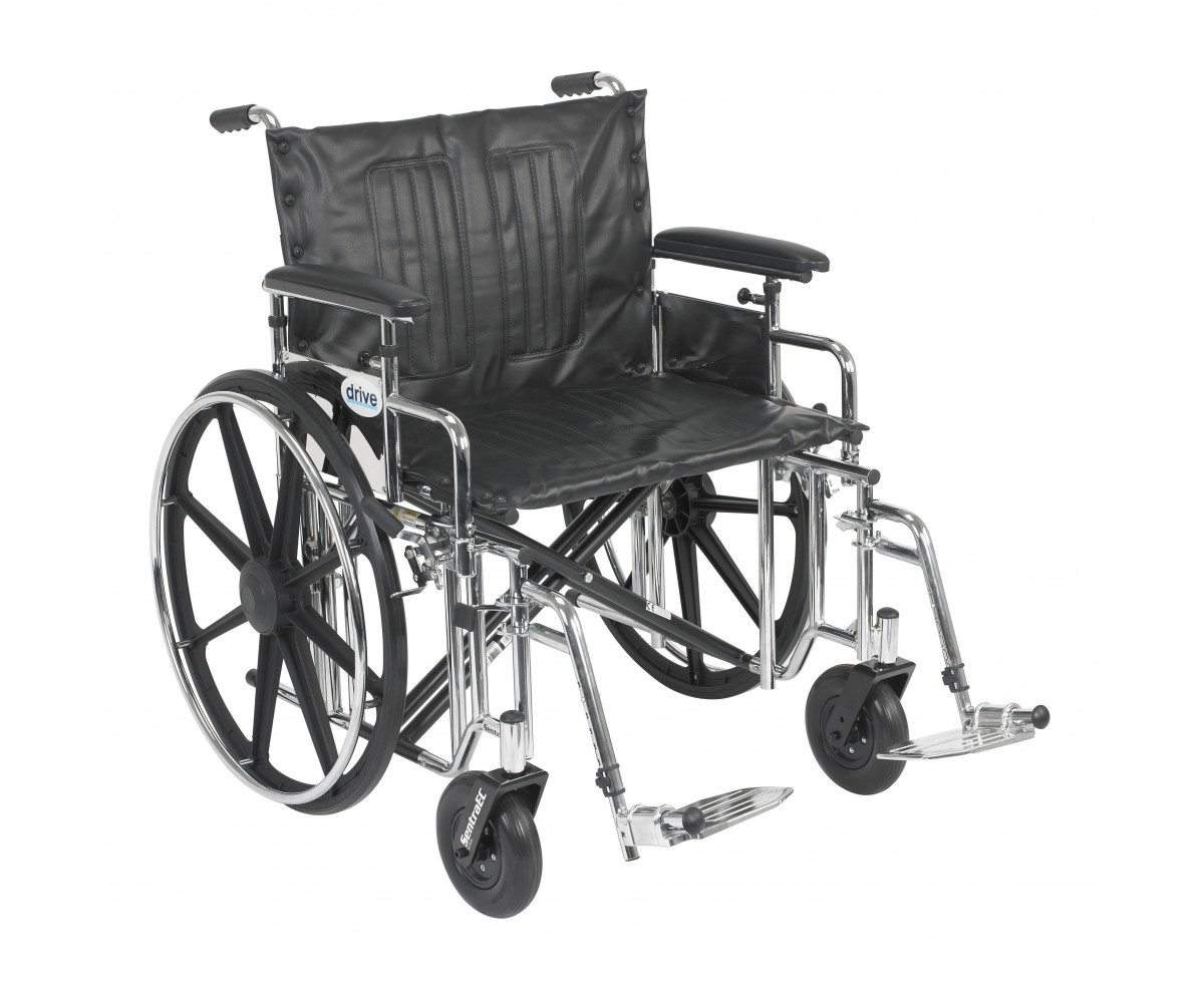 Sentra Extra Heavy Duty Wheelchair with Detachable Adjustable Full Arms and Swing Away Footrest
