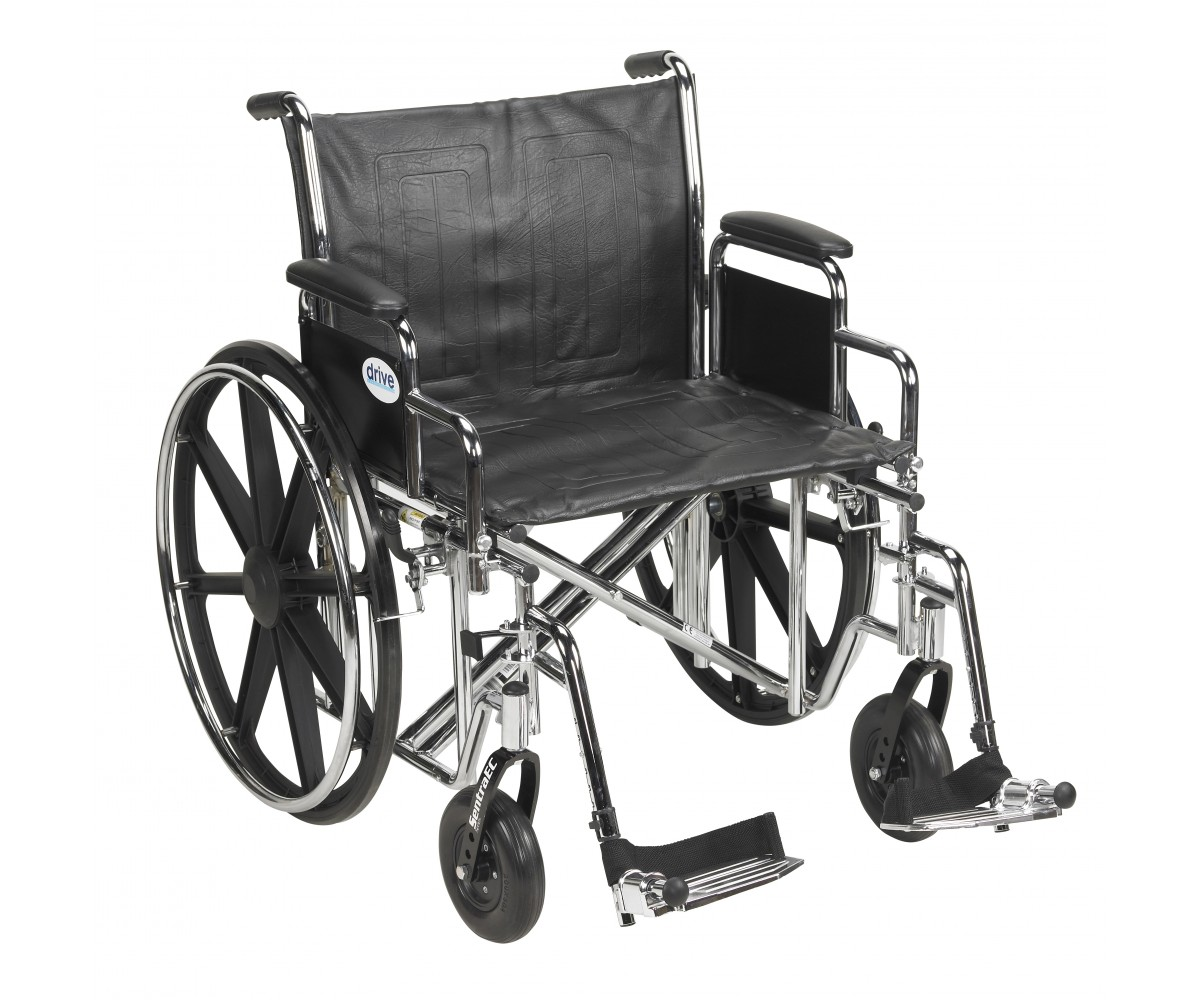 Sentra EC Heavy Duty Wheelchair with Detachable Desk Arms and Swing Away Footrest