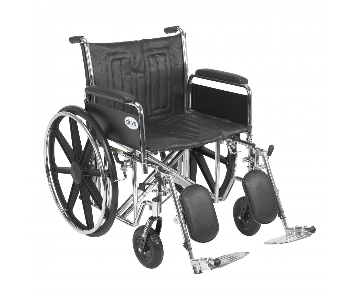 Sentra EC Heavy Duty Wheelchair with Detachable Full Arms and Elevating Leg Rest