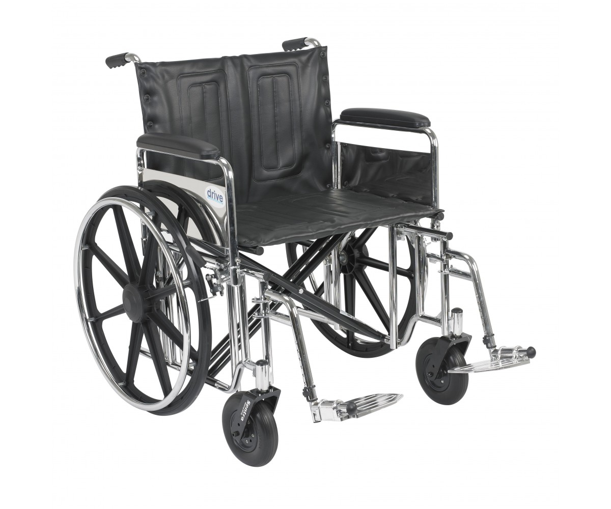 Sentra Extra Heavy Duty Wheelchair with Detachable Full Arms and Swing Away Footrest