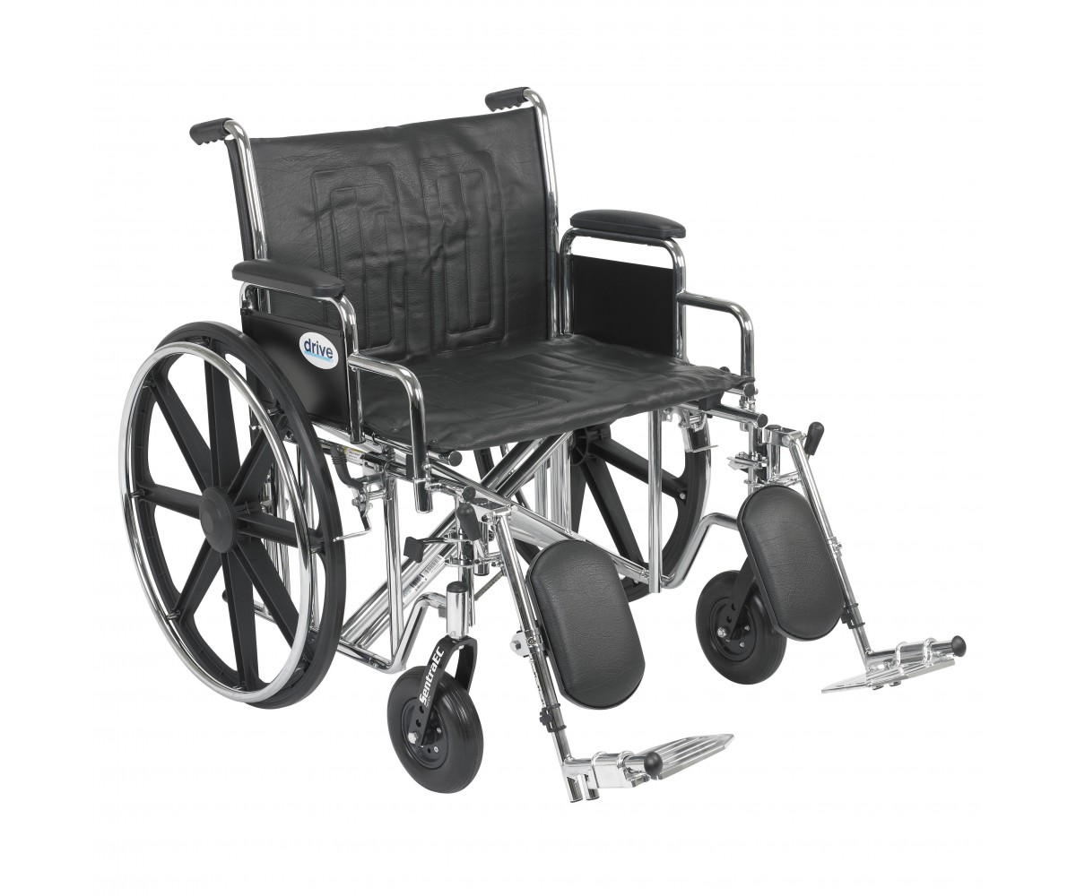 Sentra EC Heavy Duty Wheelchair with Detachable Desk Arms and Elevating Leg Rest