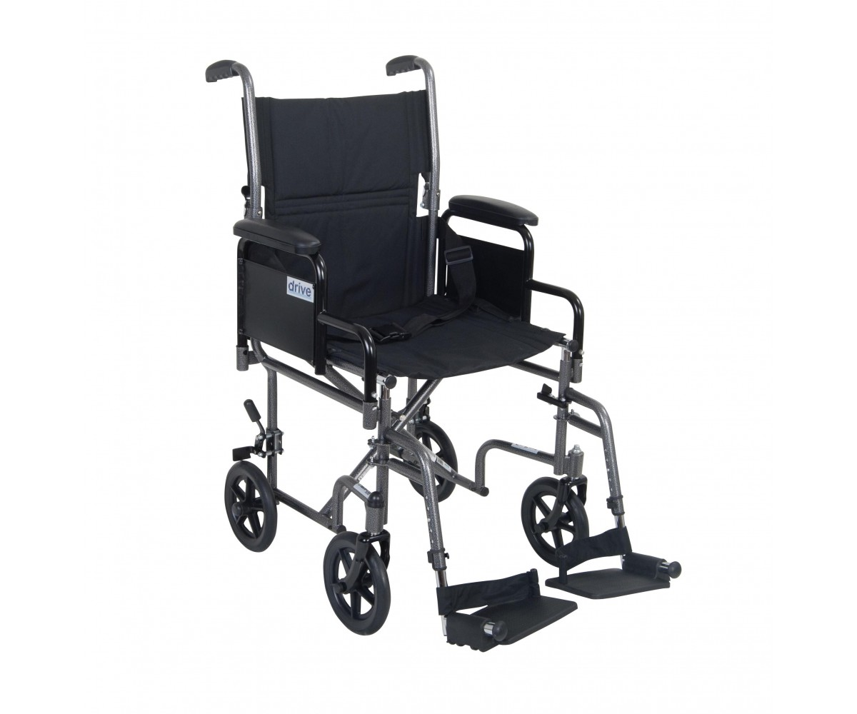 Lightweight Steel Transport Wheelchair with Detachable Desk Arms