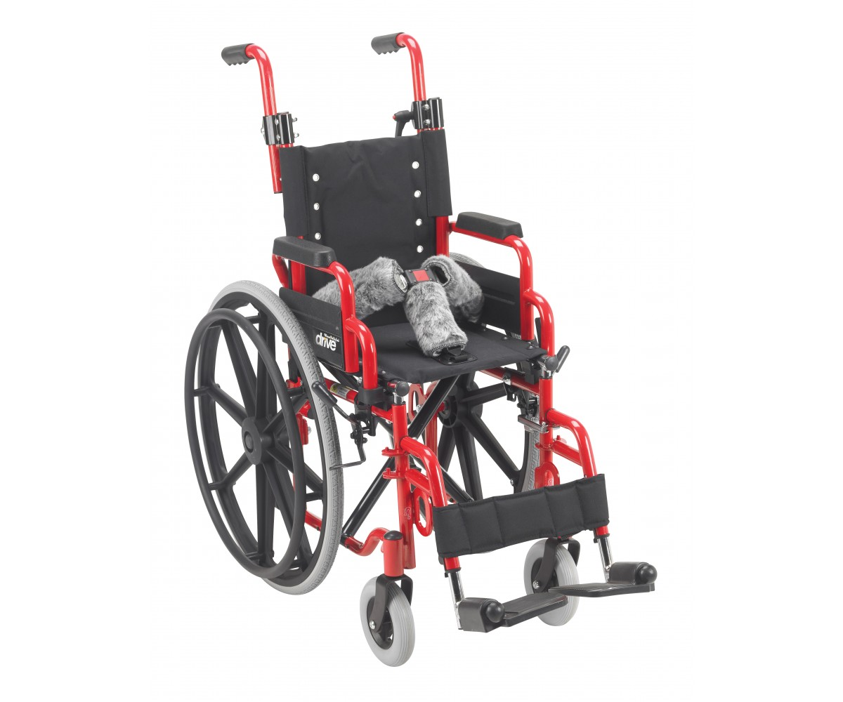 "Wallaby Pediatric Red 12"" Folding Wheelchair"