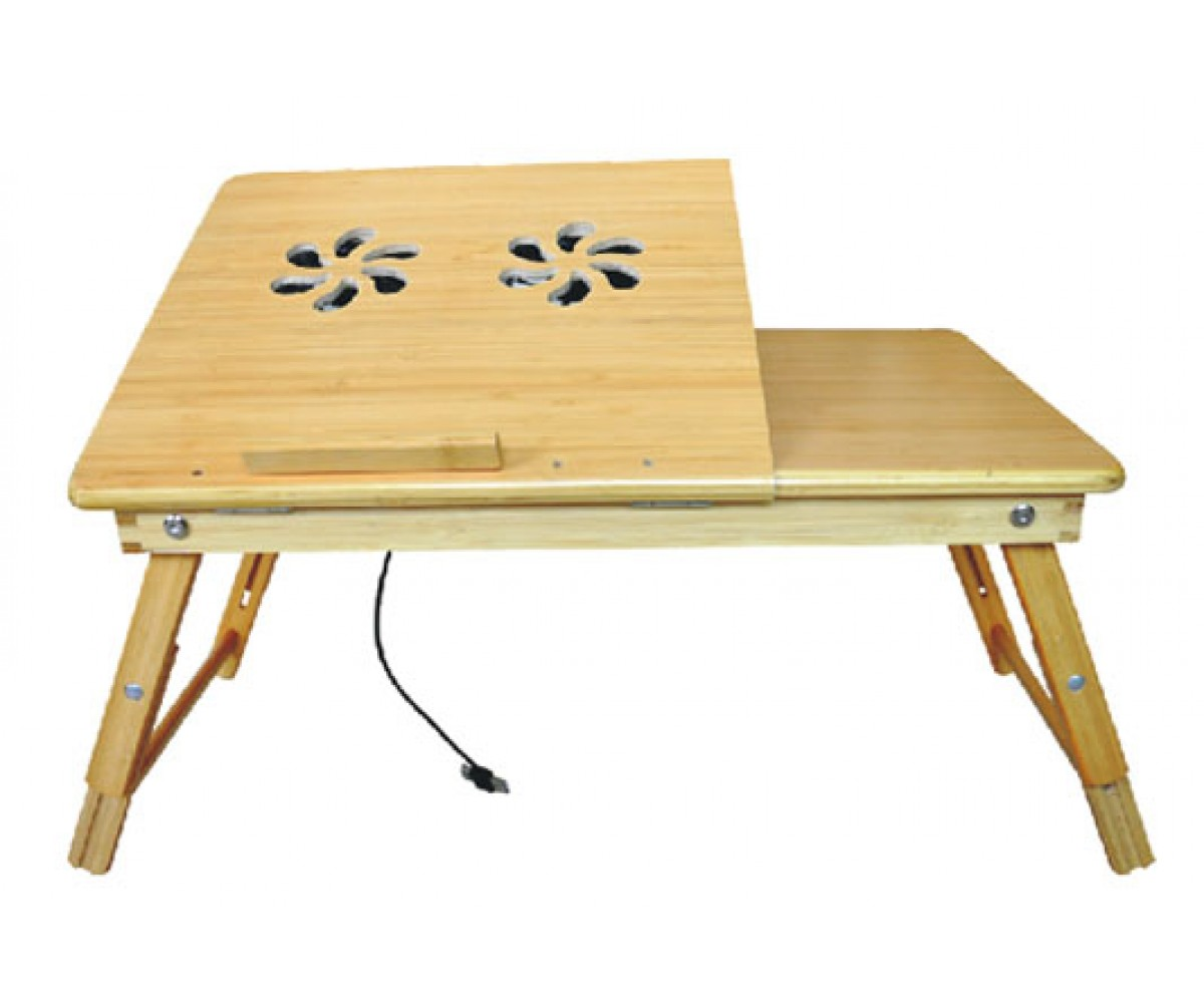 Deluxe Comfort Bamboo Laptop Desk With Internal Cooling Fan 100 Multi Functional Reading Stand Foldable Poratble