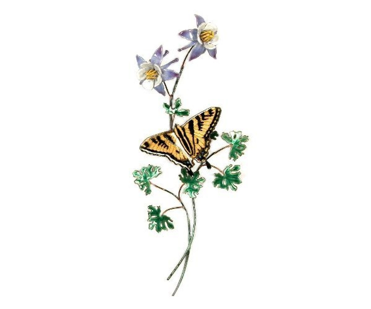 Bovano Enamel Copper Wall Art Butterfly On Columbine